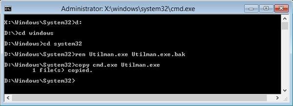replace utilman.exe