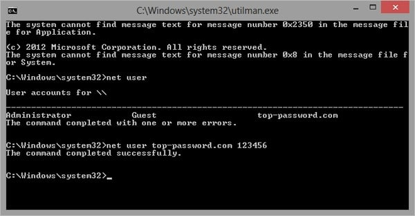 reset forgotten windows 8 password