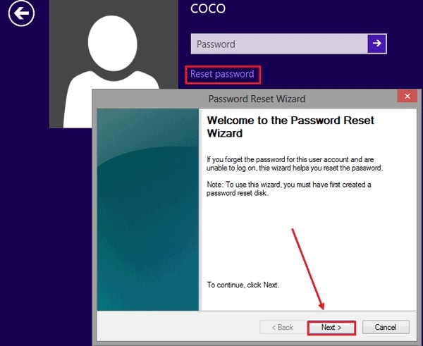 reset password in Windows 8