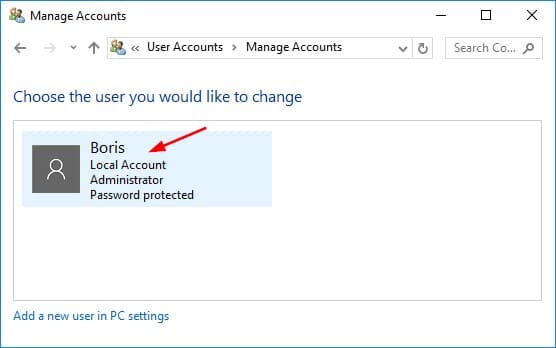 Select Windows 10 user account