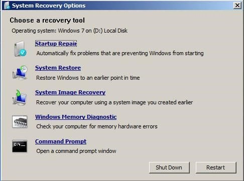 system-repair window Windows 7