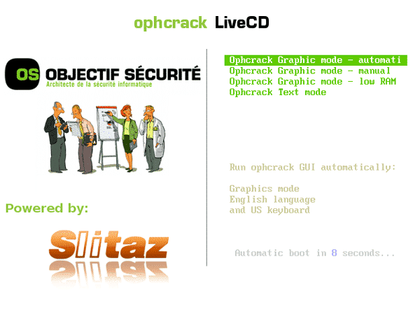 automatic boot ophcrack live cd