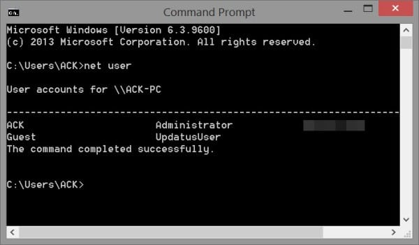 user command prompt Windows 7