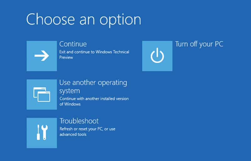 Choose an option in Windows 10