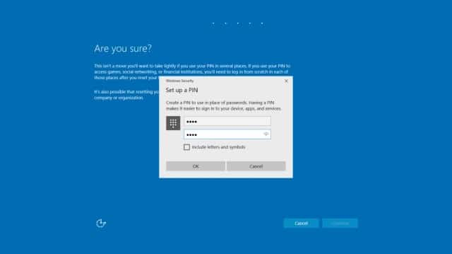 Windows 10 enter new pin code