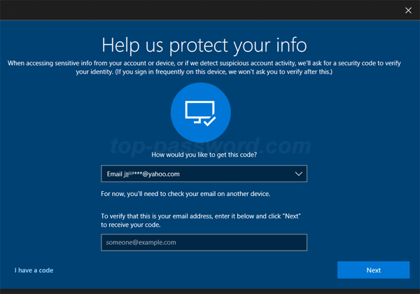 Windows 10 forgot pin request for security code