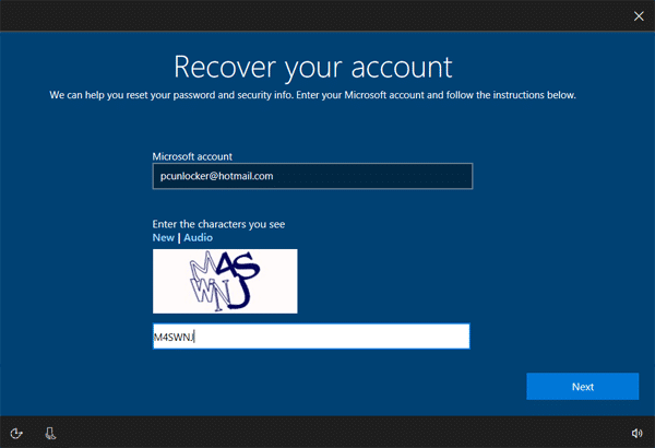 Windows 10 recover microsoft account