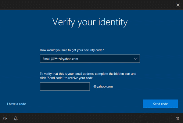 Windows 10 request for security code