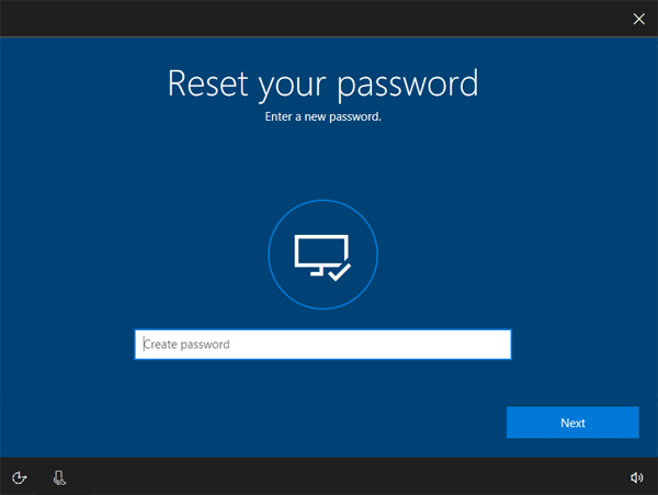Windows 10 reset microsoft account password
