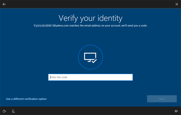 Windows 10 verify microsoft account