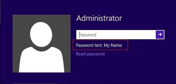 windows password hint