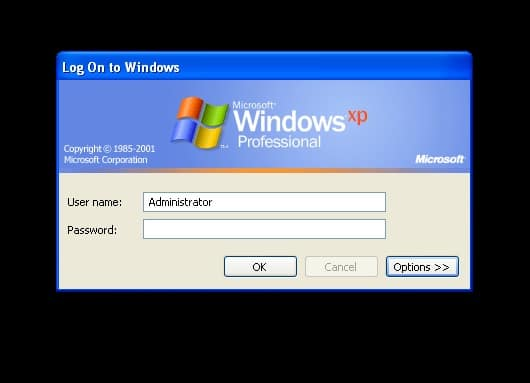 Windows XP login screen