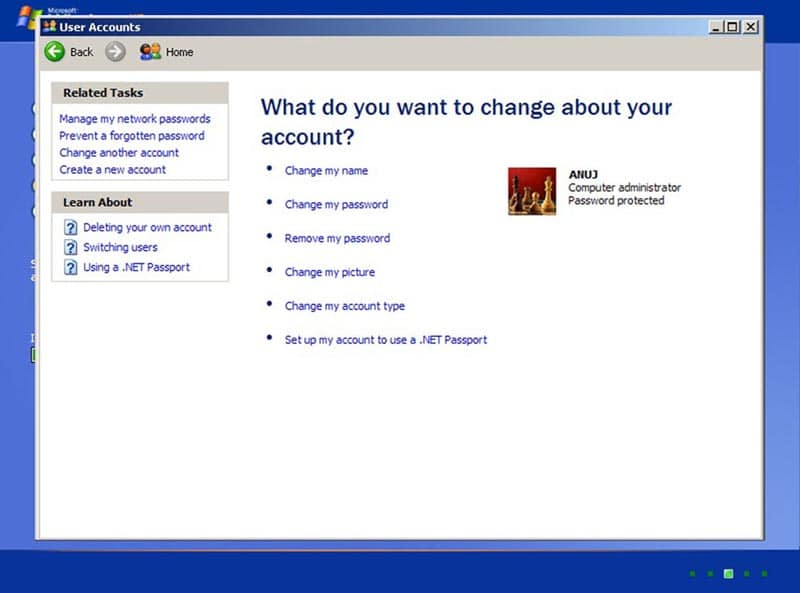 Change my password in Windows xp