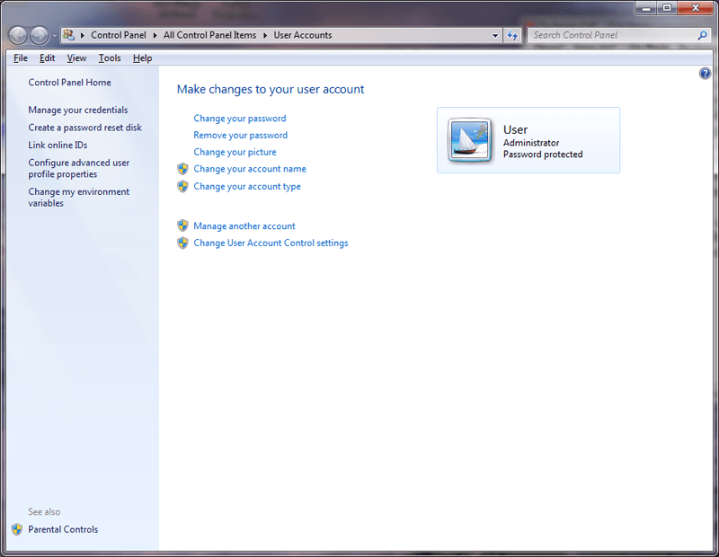 change your account type in Windows 7