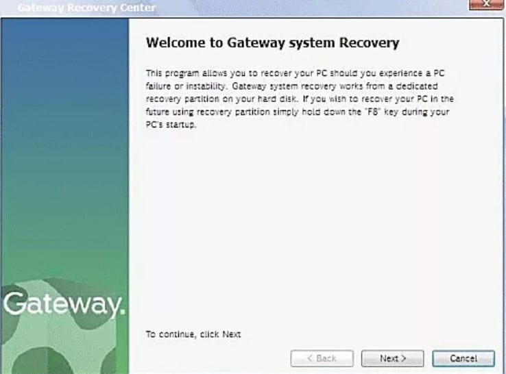 how to factory reset a gateway laptop windows 8