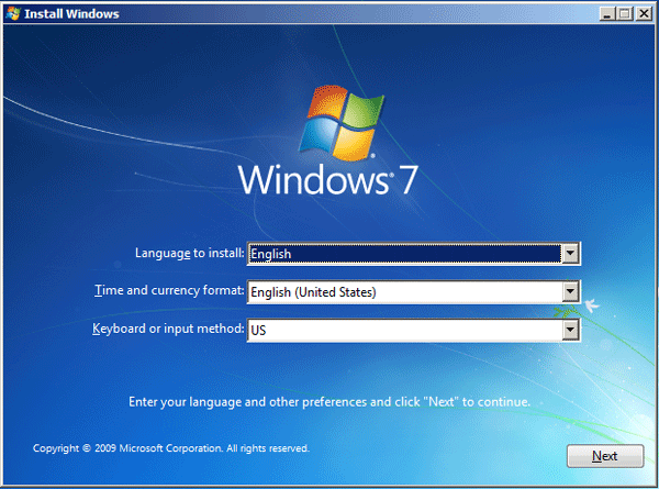 Install Windows 7 from installation cd