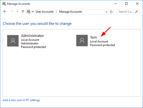 select accounts in Windows 7