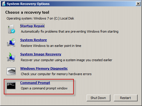open command prompt from Windows 7 installation