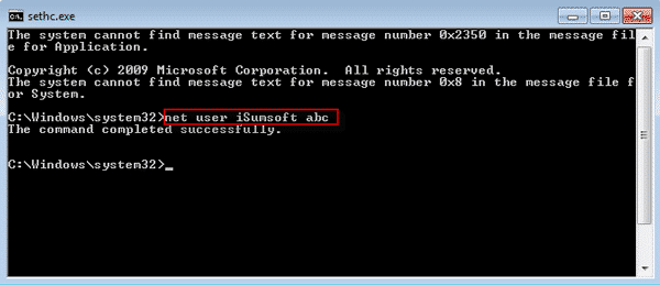 Reset password with command in Windows 7