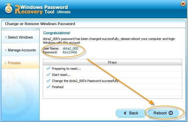 reset windows password with tool