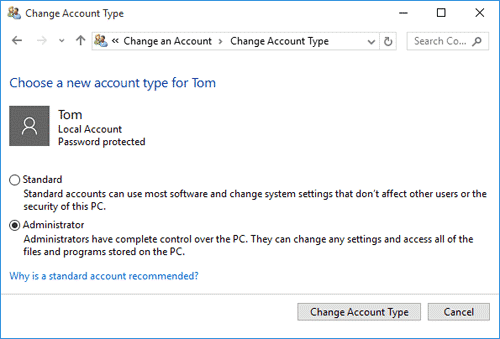 select Admin in Windows 7