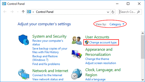 user accounts applet in Windows 7