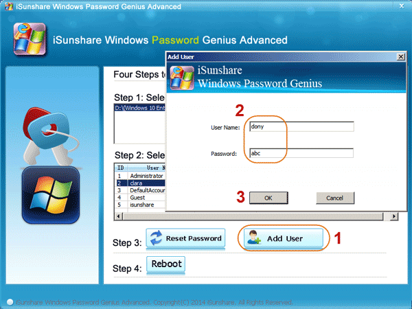 Add administrator user in Windows 7
