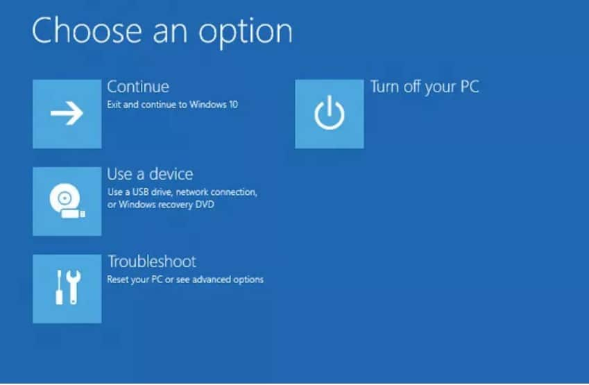Windows troubleshoot options in microsoft surface