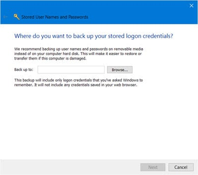 sauvegarder les noms d'utilisateur et mots de passe stockés