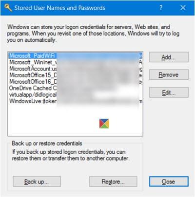 noms d'utilisateur et mots de passe enregistrés