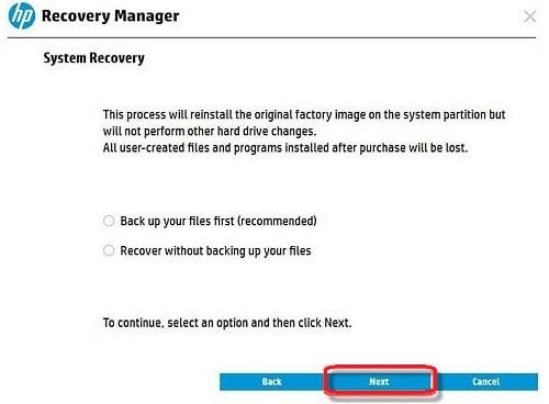 hp laptop backup files