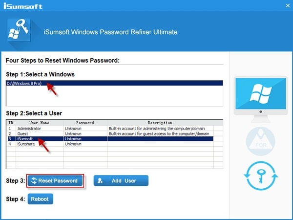 iSumsoft Windows Password Refixer Reset Password