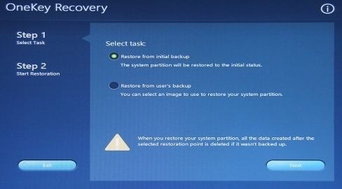 system recovery feature