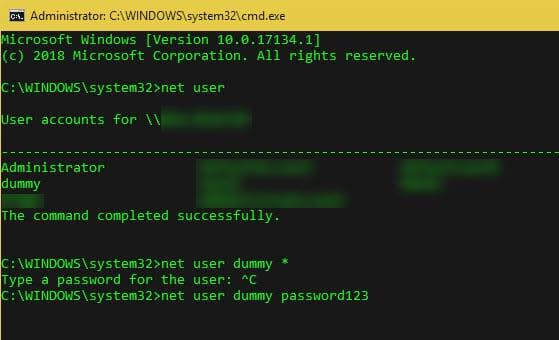 windows change password net user