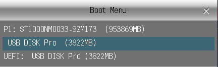 Boot Menu window pop up in windows vista