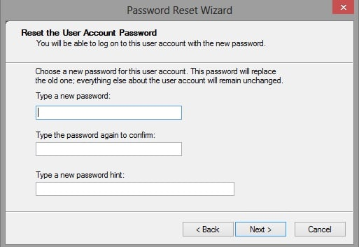 Windows 10 password reset disk screen