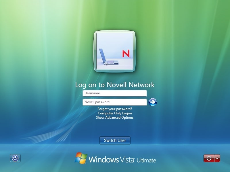 Windows Vista login panel