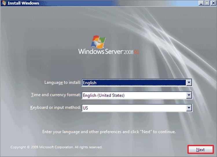 Choose language in Windows Server 2008 installation