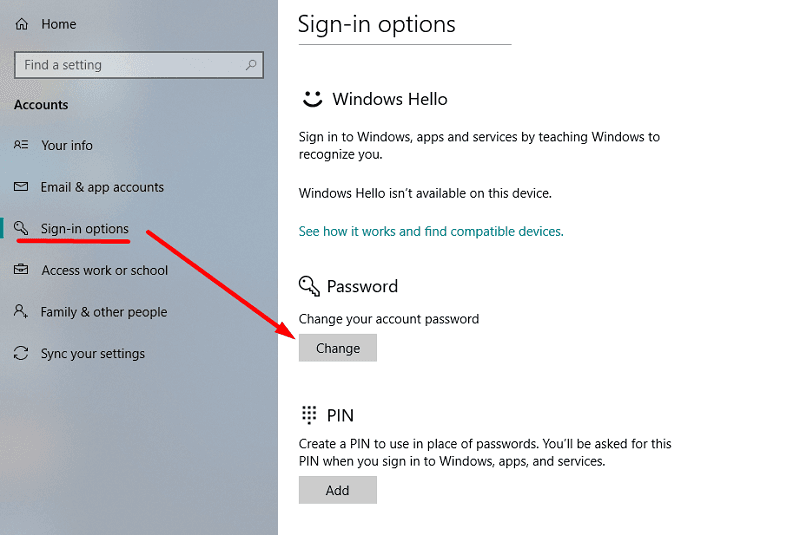 click change button from signin options in Windows 10