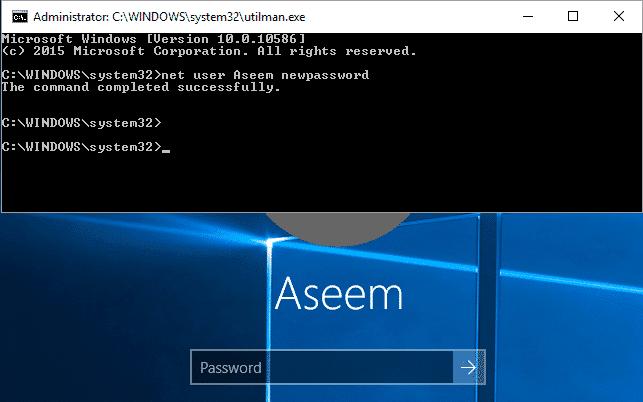 command prompt password reset in Windows server