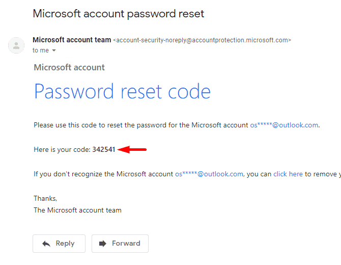 copy password reset code for microsoft account