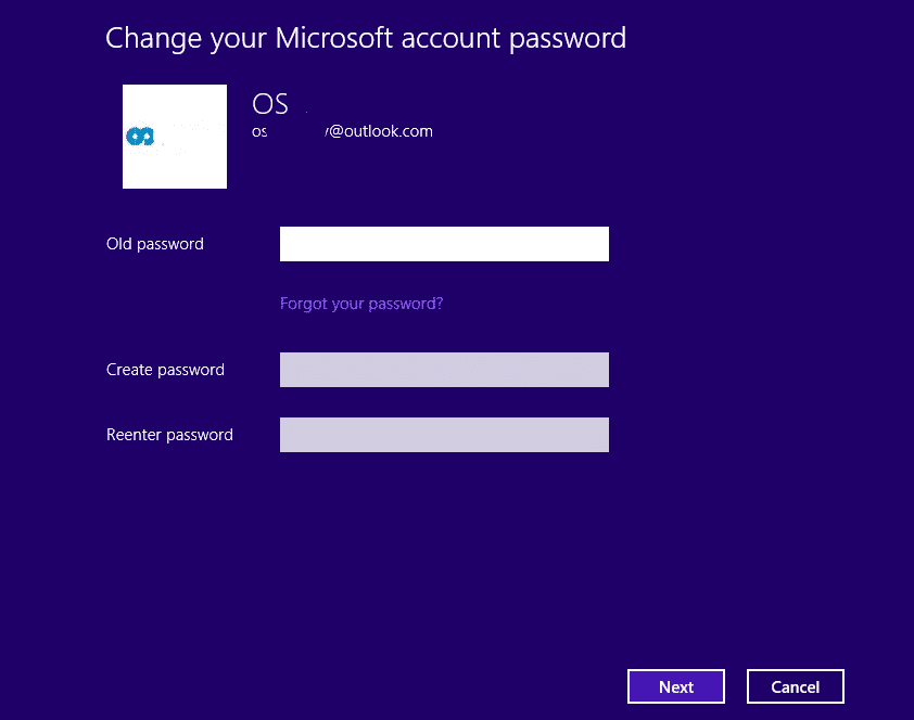 create a new microsoft account password in Windows 8.1