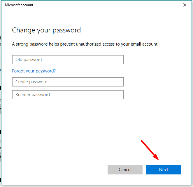 create a new password for microsoft in Windows 10