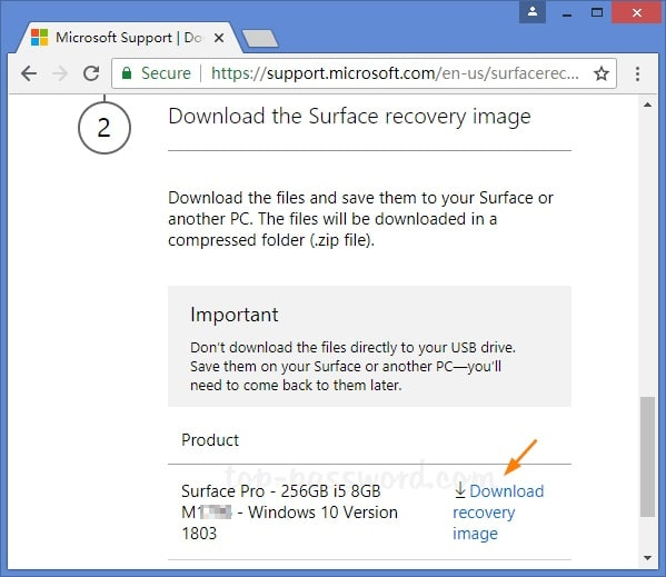 download recovery image of microsoft surface