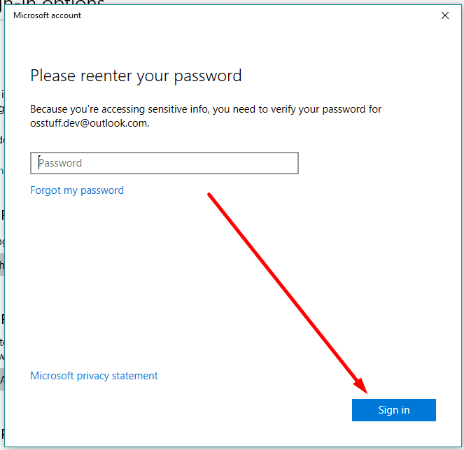 enter your current password in Windows 10