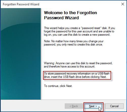 forgotten password wizard in Windows Server