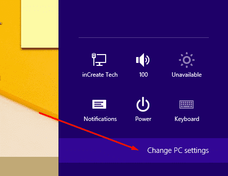 open pc setting in Windows 8