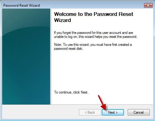 password reset wizard in Windows
