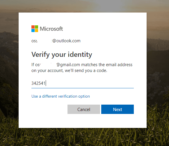 paste code for microsoft account verification