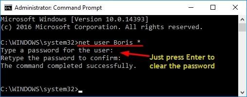 remove password Windows 10 through cmd